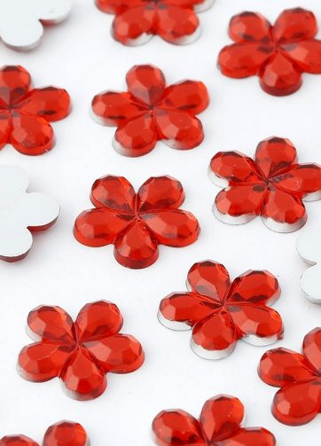 zamówienia hurtowe Dżety kwiatki 10 mm (czerwony) - 1000 szt.