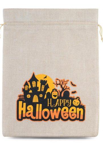 1 szt. Woreczek Halloween (nr 1) jutowy 30 x 40 cm - naturalny jasny