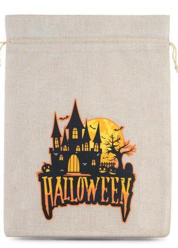 1 szt. Woreczek Halloween (nr 2) jutowy 30 x 40 cm - naturalny jasny