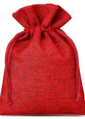10 szt. Woreczki jutowe 8 x 10 cm - czerwone