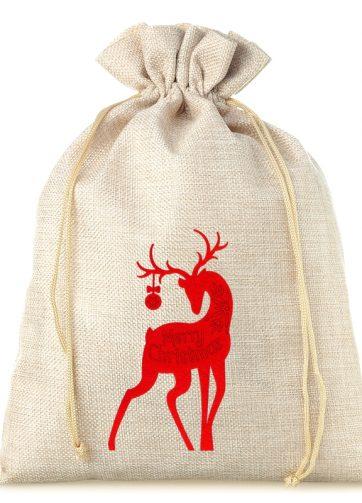 1 szt. Woreczek jutowy 26 x 35 cm - Boże Narodzenie - Jeleń