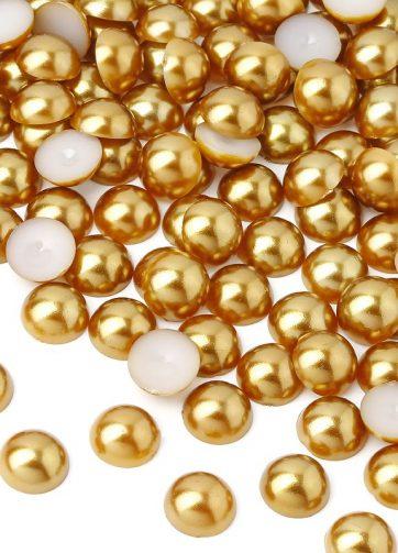 zamówienia hurtowe Półperełki okrągłe 8 mm (złoty) - 2000 szt.