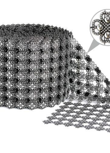 zamówienia hurtowe Taśma dekoracyjna 11 cm x 9m (srebrno-czarna) - 1 szt.