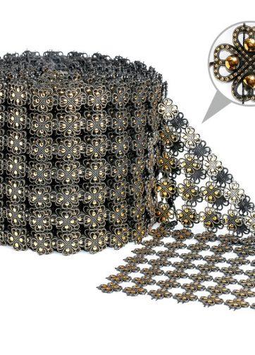 zamówienia hurtowe Taśma dekoracyjna 11 cm x 9m (złoto-czarna) - 1 szt.