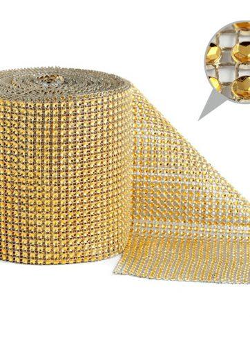 zamówienia hurtowe Taśma dekoracyjna 12 cm x 9m (złota) - 1 szt.