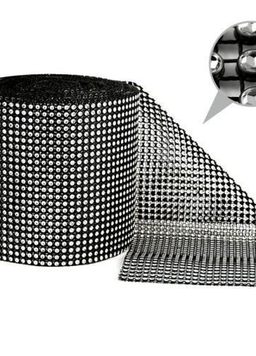 zamówienia hurtowe Taśma dekoracyjna 12 cm x 9m (srebrno-czarna) - 1 szt.
