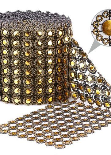 zamówienia hurtowe Taśma dekoracyjna 12 cm x 9m (złoto-czarna) - 1 szt.
