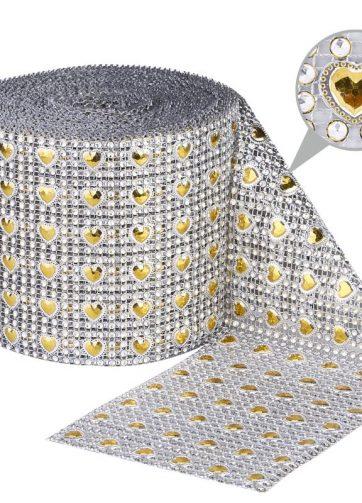 zamówienia hurtowe Taśma dekoracyjna 12 cm x 9m (srebrno-złota) - 1 szt.