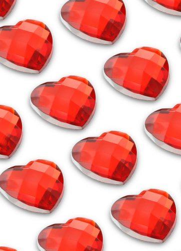 zamówienia hurtowe Cyrkonie serca 10 mm (czerwony) - 50 szt.