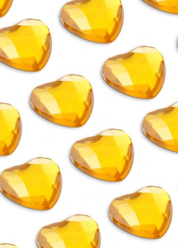 zamówienia hurtowe Cyrkonie serca 6 mm (złoty) - 100 szt.