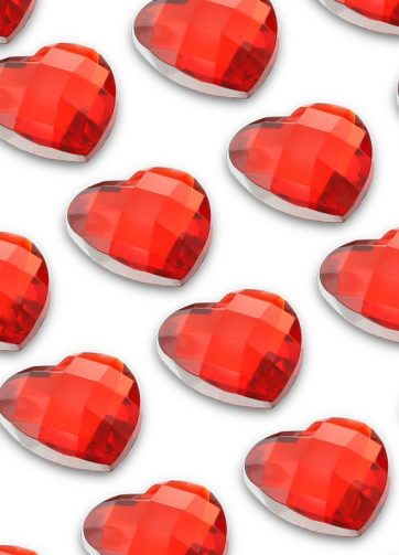 zamówienia hurtowe Cyrkonie serca 6 mm (czerwony) - 100 szt.