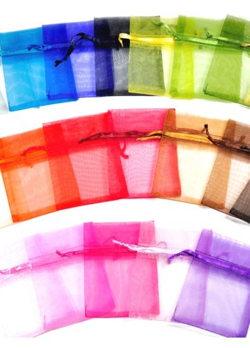 10 szt. Woreczki z organzy 16 x 37 cm - mix kolorów