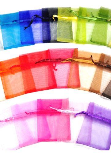 10 szt. Woreczki z organzy 15 x 33 cm - mix kolorów