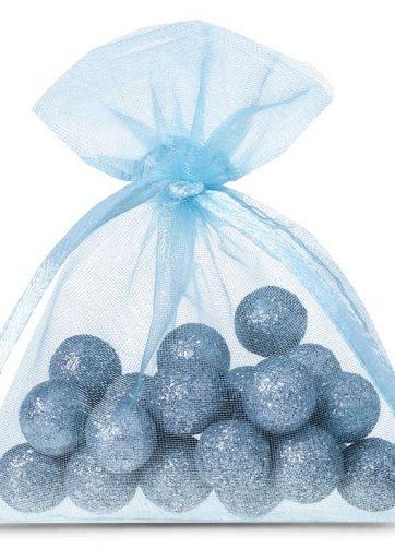 25 szt. Woreczki z organzy 7 x 9 cm - błękitne