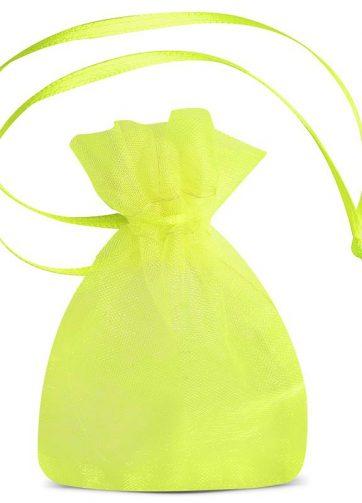 25 szt. Woreczki z organzy 7 x 9 cm (SDB) - zielone neonowe