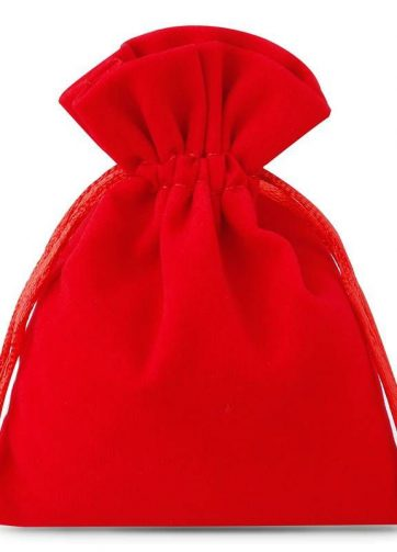 10 szt. Woreczki welurowe 11 x 14 cm - czerwone
