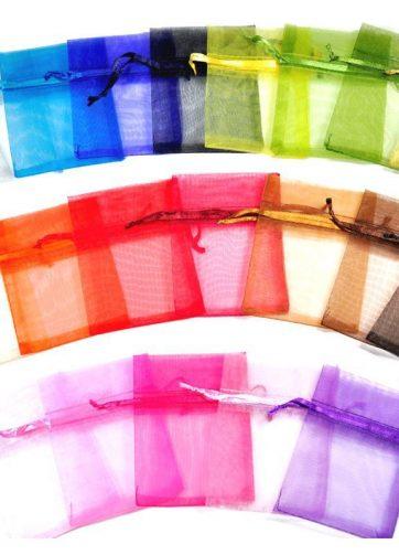 5 szt. Woreczki z organzy 40 x 55 cm - mix kolorów