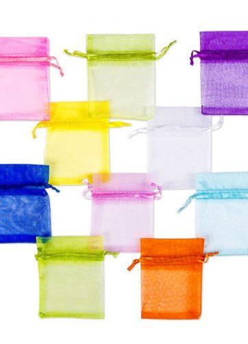 10 szt. Woreczki z organzy 7 x 9 cm - mix wiosennych kolorów