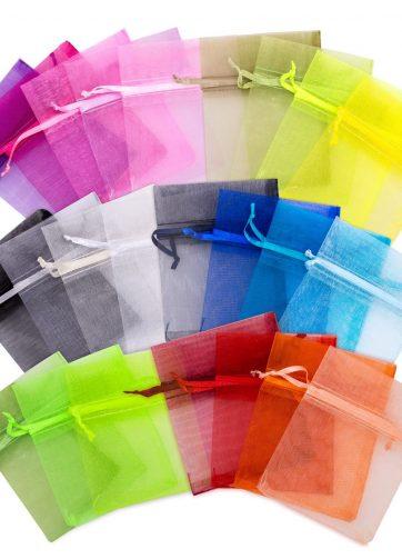 10 szt. Woreczki z organzy 13 x 27 cm - mix kolorów
